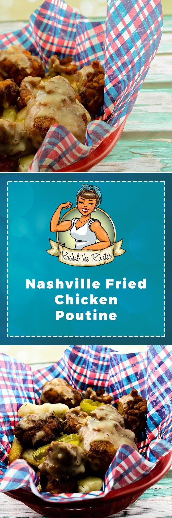 Nashville Fried Chicken Poutine - Spicy cheesy goodness smothered in delicious chicken ranch gravy