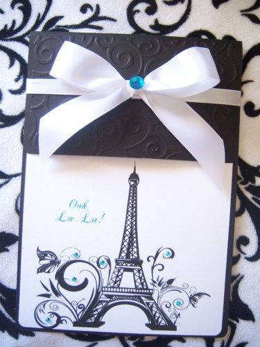 Parisian Sweet 16 Quinceañera Invitations Paris French Eiffel Tower | suncitypartycreations - Wedding on ArtFire