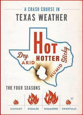 That's about right. Although I think Texas has two seasons, Hell (summer) and Purgatory (the rest of the time).Texans, Four Seasons, Christmas, Funny, So True, Places, The Heat, Texas Weather, True Stories