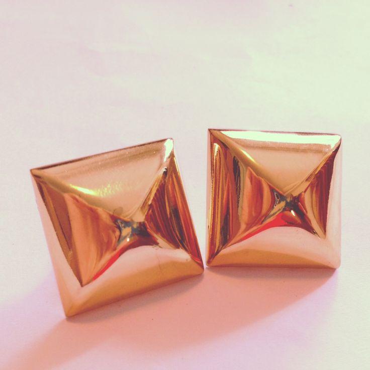 Medium size light gold Studs 24 mm x 24mm x 2 ,gold #pyramid studs, #studs https://www.etsy.com/listing/197492310/medium-size-light-gold-studs-24-mm-x?ref=listing-shop-header-3