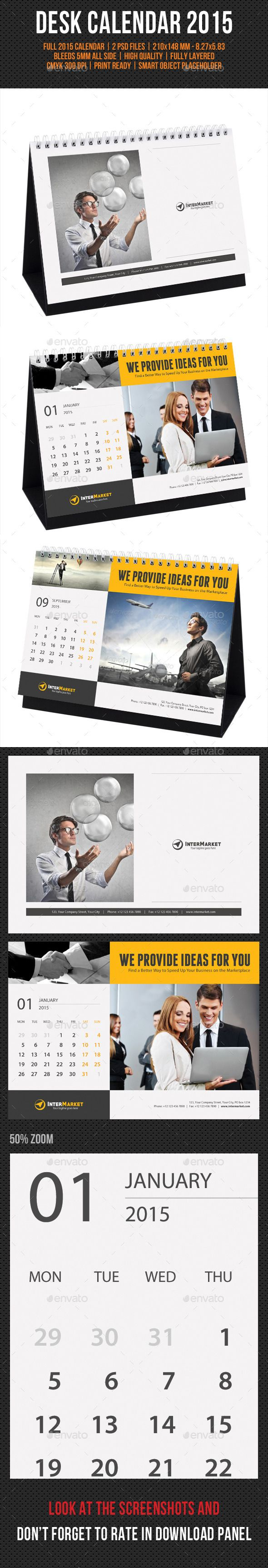 Corporate Desk Calendar 2015 Template | Buy and Download: http://graphicriver.net/item/corporate-desk-calendar-2015/9534311?ref=ksioks