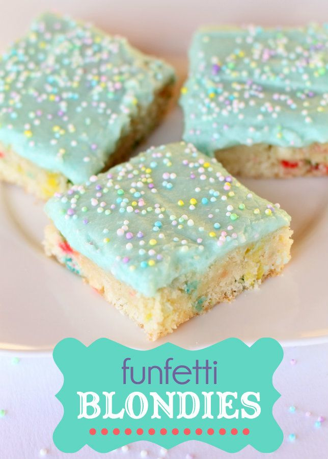 These Funfetti Blondies are good and easy! Must save recipe for later. { lilluna.com }