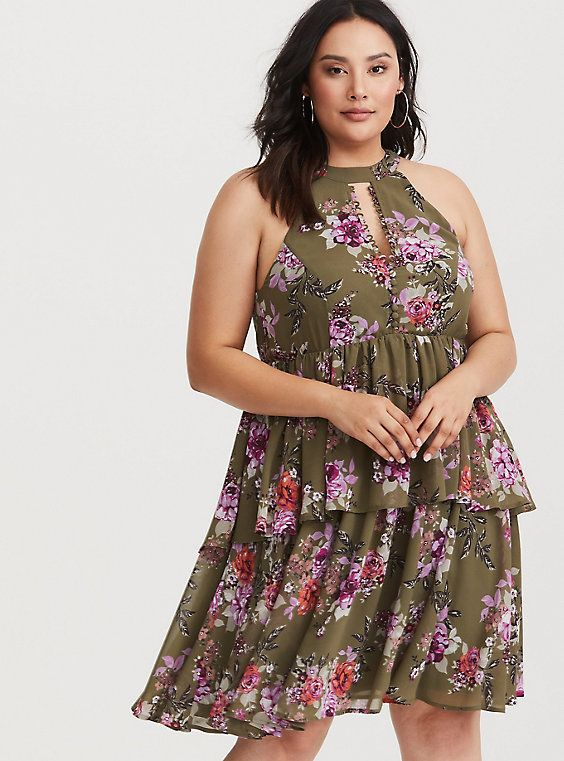 b5be49775 Olive Floral Chiffon Mini Dress | Torrid look book | Floral chiffon ...