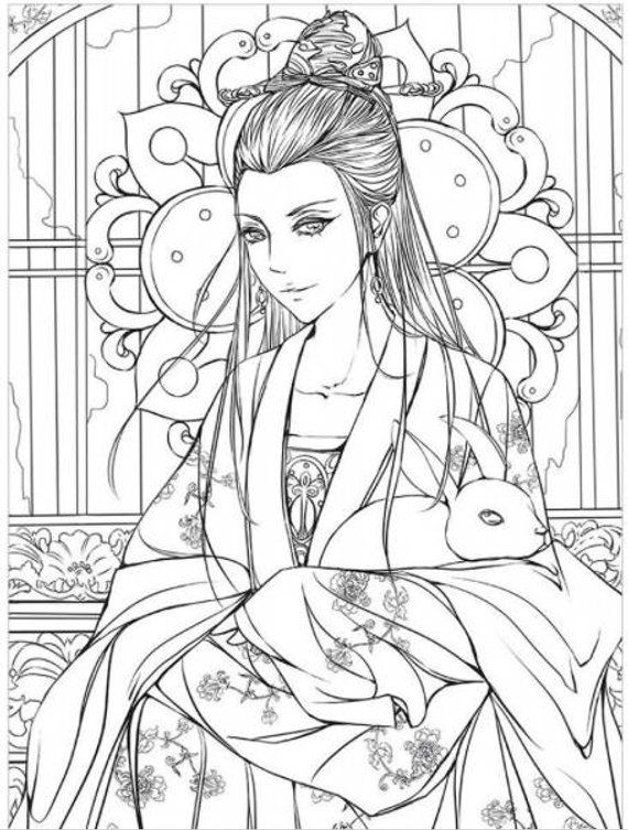 Chinese Ancient Paint Coloring Book Life Poem Princess Chinese Coloring Book In 2021 Coloring Books Cartoon Art Fashion Coloring Book