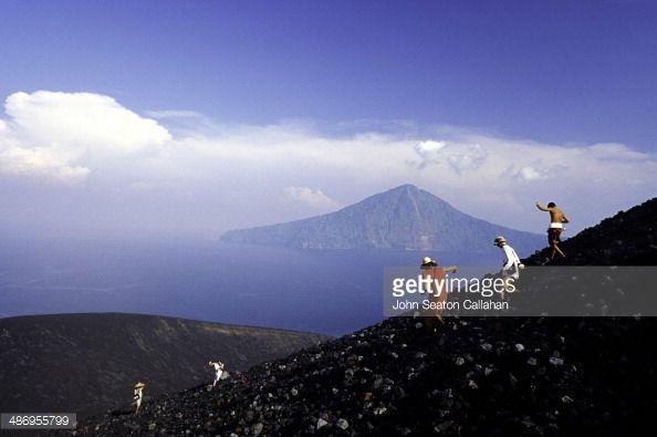Indonesia, Banten, Ujung Kulon National Park, climbing Krakatoa Volcano.