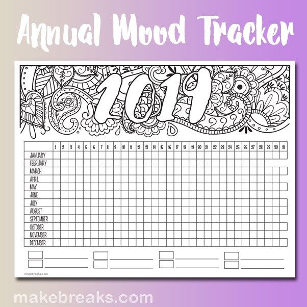 2019 Annual Mood Tracker Free Printable Planner Page Mood