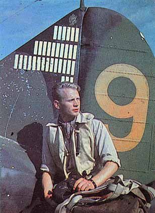 "Fighter Ace Hans ""Hasse"" Wind (1919-1995), a Knight of Mannerheim´s Cross (decorated twice with Mannerheim´s Cross) photographed near his Br..."