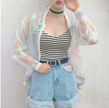 Harajuku летняя женская куртка лазерная радуга симфония голограмма ветровка женская ясное радужное прозрачное пальто женское(China (Mainland))