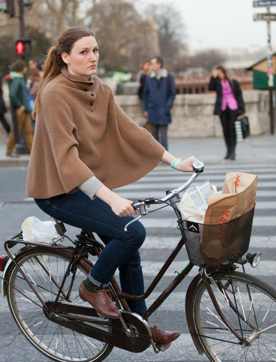 I love capes! Paris Cycle Chic