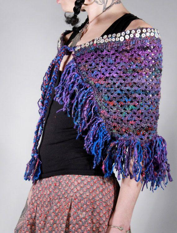 Banjara handspun hand dyed wool and silk tribal by ChopstixWaits, $186.00