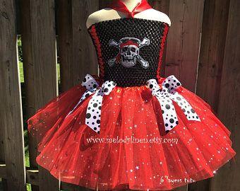 SALE-Pirate tutu Pirate costume halloween costume Pirate dress Pirate outfit Red with black tutu skalton tutu dress Pirate Princess Tutu