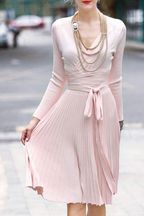 V-Neck Self-Tie Belt Pleated Sweater Dress