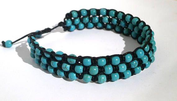 Turquoise Beads Bracelet  Turquoise Beads Anklet Macrame