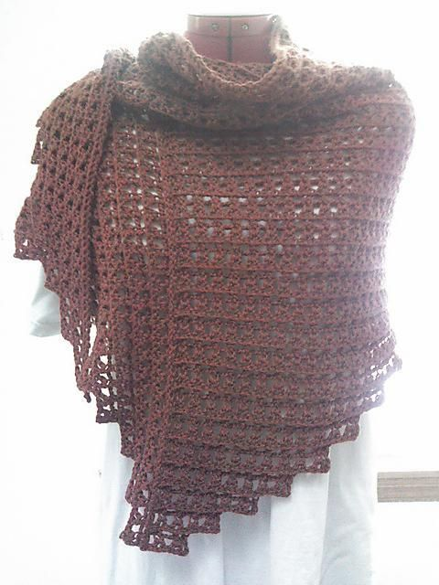 """The shawl is asymmetrical. The first section is crocheted top-down & the second is crocheted outward. You can customize into any size you want. You can customize the border too, with less gathers. This pattern will work with any kind of yarn and colours. Gauge is unimportant.Measurements Without border - 65"""" top edge x 24"""" spine With border - 56"""" top edge x 23.5"""" spineAdvanced beginner; Stitches used are slipped stitch, chain, Foundation single crochet, single crochet, double crochet…"""