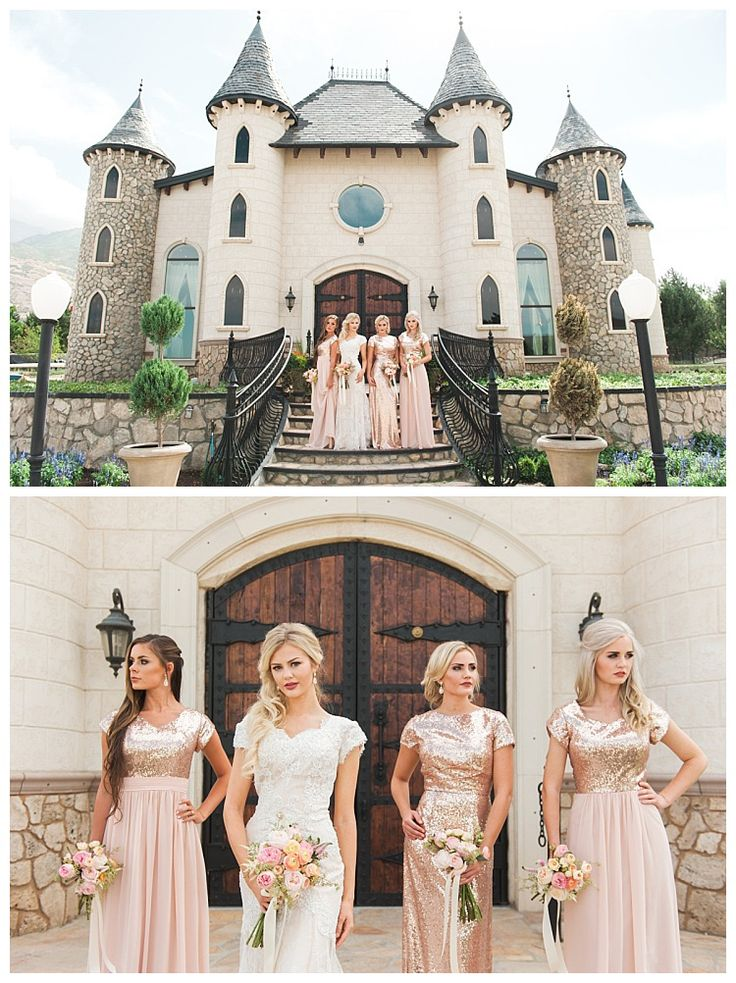 Glittery modest bridesmaid dresses in rose gold by LatterDayBride and Prom | LDS Bride Blog | Gateway Bridal & Prom | Home of the LatterDayBride Collection | Salt Lake City | Utah Bridal Shop | Worldwide Shipping