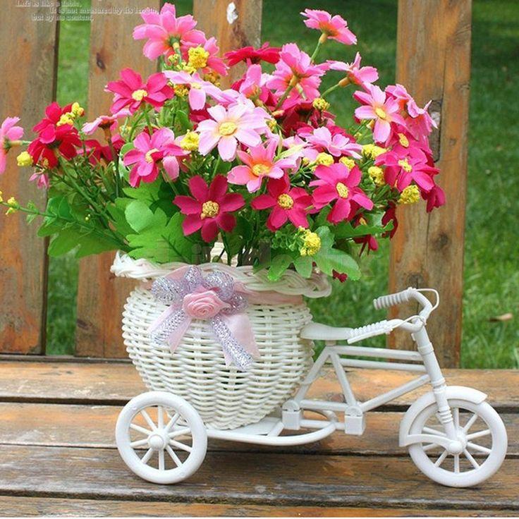 Plastic Tricycle Bike Basket For Flower Vase Storage Decoration Gift Fashion