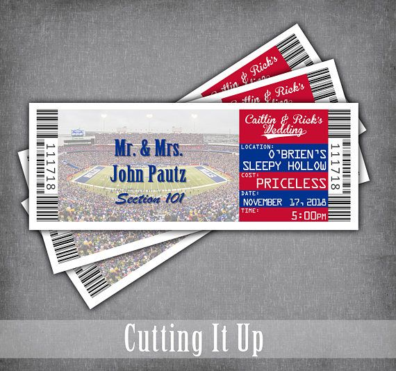 Football Ticket Place Cards, Tented Seating Card, Escort Tickets, Sports Wedding Theme, Reception, Bar Mitzvah, Party, Buffalo Bills