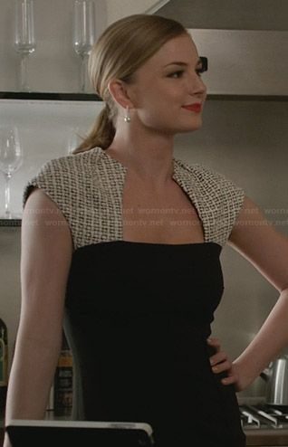 Emily's black dress with cream patterned shoulders on Revenge.  Outfit Details: http://wornontv.net/29767/ #Revenge