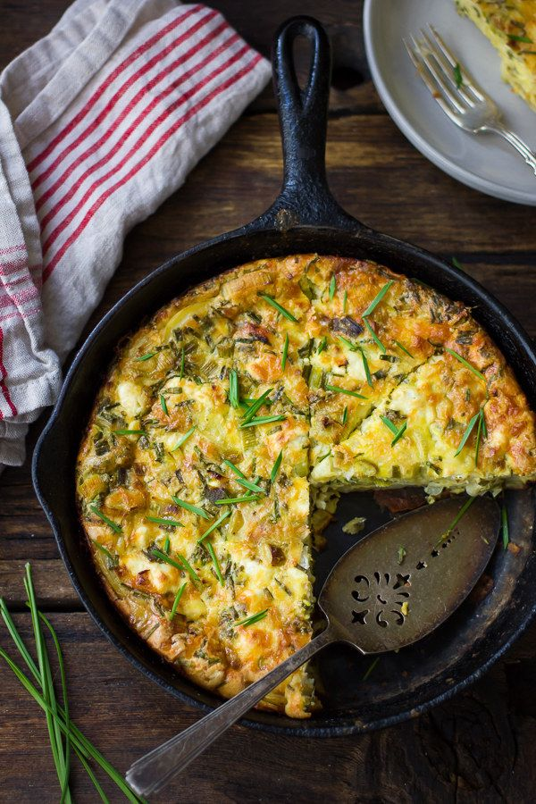 Potato and Green Garlic Crustless Quiche with Goat Cheese, Gruyère, and Chives | 22 Delicious Meatless Mains To Make For Thanksgiving