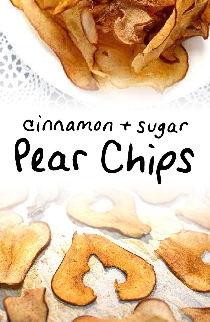 **SEE THE BEST RECIPE FOR FALL!** This recipe for oven baked pear chips with cinnamon and sugar is one of my favorite healthy snacks (or desserts) to make with crisp, ripe Fall bosc pears | via http://www.sipbitego.com/cinnamon-pear-chips-oven-baked #healthysnack
