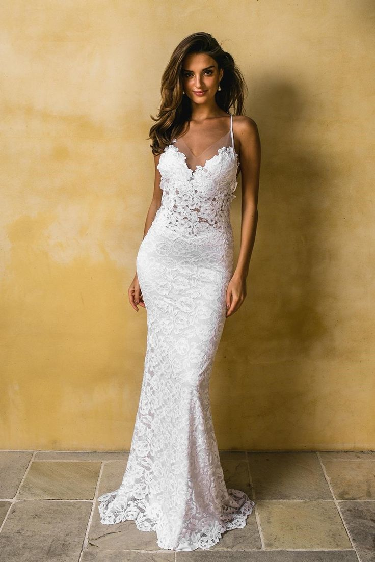 Lace Wedding Gown For Rent Size 10