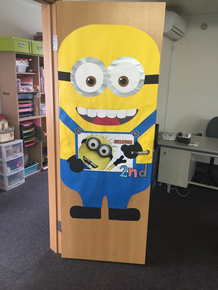 Welcome door for a minion themed classroom