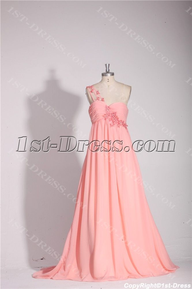 Coral One Shoulder Empire Long Plus Size Prom Gown:1st-dress.com