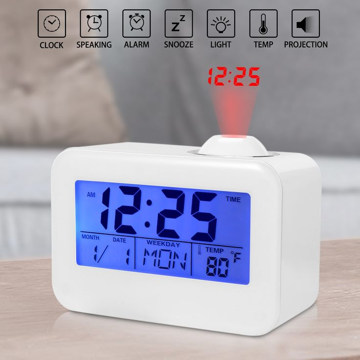 Projection Clock, Ceiling Alarm Clock, Ceiling Time Projector, Digital Clock with LED Backlight/Snooze, Temperature/Week/Date Display(Not Include Battery)