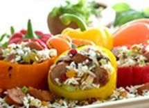 Johnsonville Apple Chicken Sausage and Rice Stuffed Peppers