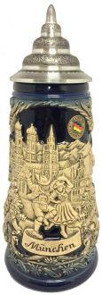 Munchen Munich Bavaria Germany Landmarks Blue Relief LE German Beer Stein .5 L