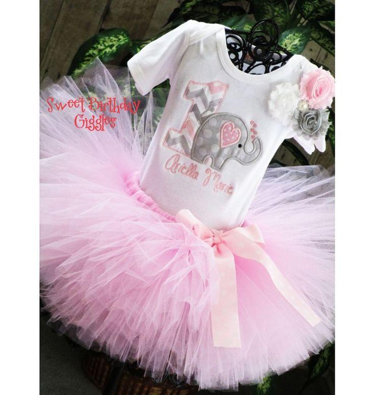 #Elephant 1st Birthday Tutu Outfit, #Jungle Birthday Party Themes