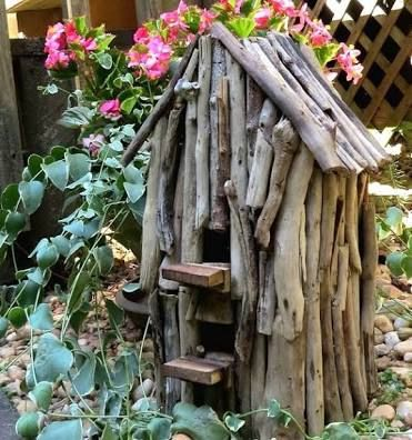 Image result for natural wood fairy houses
