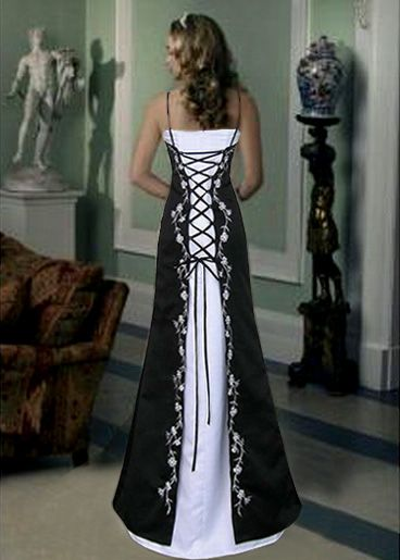 Back view of the black and white corset lace wedding dress.