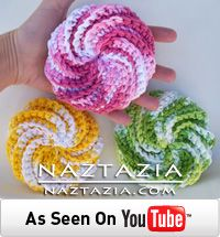 Free pattern - spiral scrubbies crochet pattern by Judith Prindle and video from Naztazia.