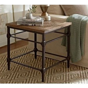 Parquet Reclaimed Wood & Metal Side Table - Accent Table - End Tables - Coffee Tables - Pottery Barn
