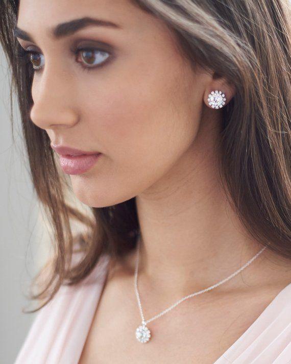 Swarovski Crystal Jewelry Set Bridesmaid Jewelry Set Silver