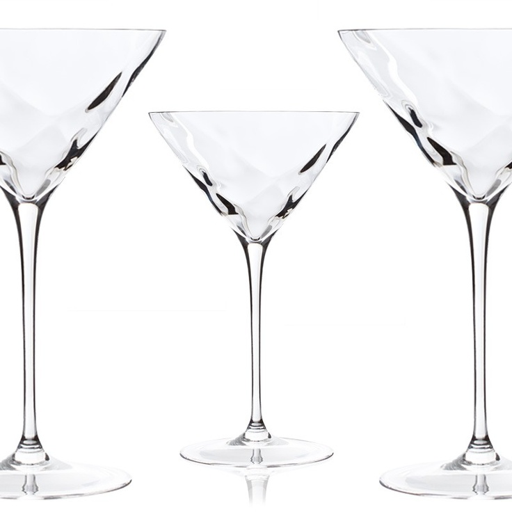 "SET 6 COCKTAIL GLASSES   6 cocktail glass set realized with ""optical effect"", created by the experience and skill of craftsmen and artists.  One and only product in the world. A style and design fully Italian.   Sophie set is composed by 6 flute, 6 glass water and 6 wine glass.$82.90"