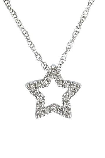 10K White Gold Pave Diamond Cutout Star Pendant Necklace - 0.06 ctw