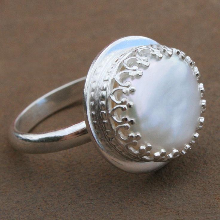 tudor pearl ring sterling silver freshwater pearl. Black Bedroom Furniture Sets. Home Design Ideas