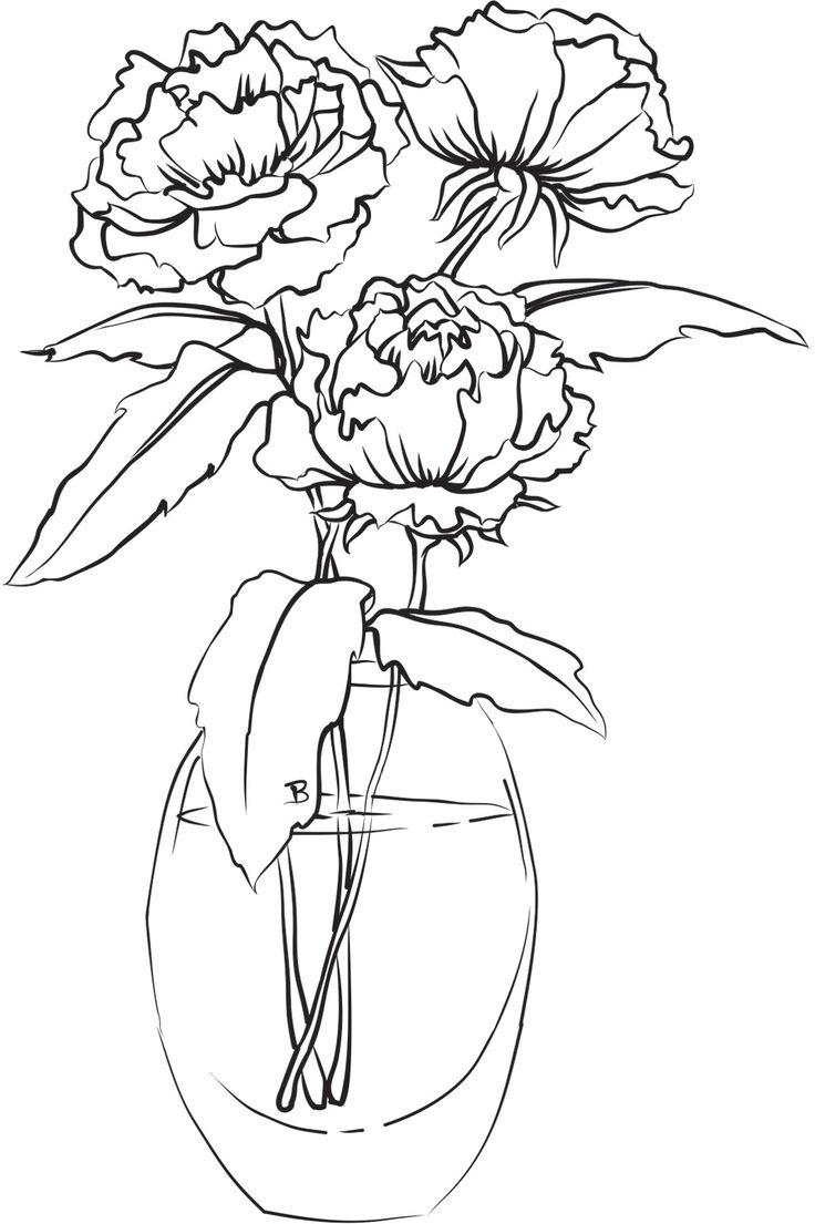 Flower in vase coloring pages - Peonies In A Vase