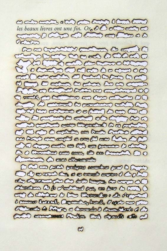 "defacedbook: "" Remo Albert Alig Fine Books Have a Purpose, Gold 2005 Sunlight on Paper (14cm x 20.5cm) """