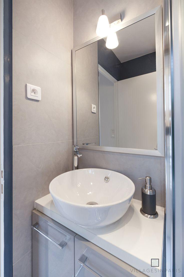 Salle de douche gain d'espace - Lavabo rond - Gris Blanc