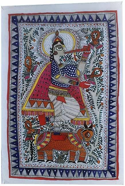 Lord Krishna in Mithila style,playing flute in a decorative and floral surrounding.
