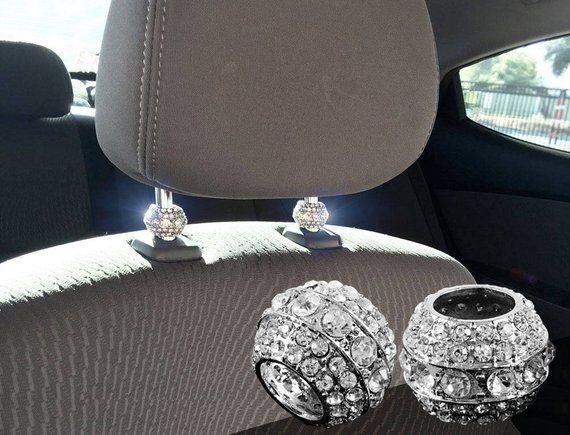 Women Car Seat Headrest Collar Collar Ring Ornaments Rhinestone Decor Bling