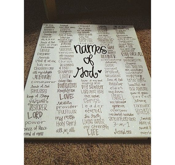 ready to ship// names of God canvas by gloriouslyruined on Etsy, $50.00