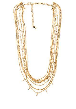 Luv AJ Multi Chain Spike Necklace в цвете Антикварное золото   REVOLVE