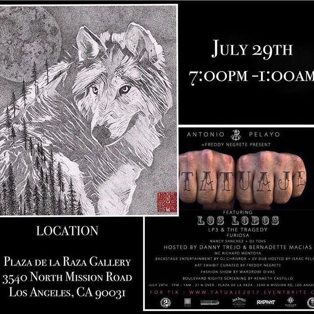"My Tattoo Family member @themanyao  original painting will be showing at ""TATUAJE"" art exhibition tomorrow, hosted by the legendary @freddy_negrete on July 29, 2017. The address is on picture ☺️ Please welcome everyone to come and celebrate this event 🙏🏻 . . . #dotwork #stippling #blackwork #dots #blackink #mytattoo #tatuaje #artgallery #artshow #loslobos #lobo#wolf #tatuajes #painting #paintings #socal #losangeles#blackandgrey #artlover #artistic #tattoolife #la #ink#artexhibition…"