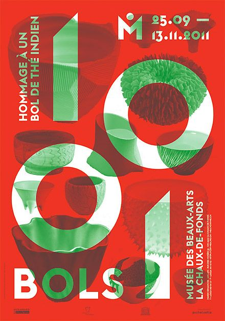 poster for the exhibition '1001 Bols' at the Museum of Fine Arts in La Chaux-de-Fonds / designed by onlab