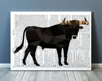 Country decor Bull print Torro art Animal print от animalgeometry