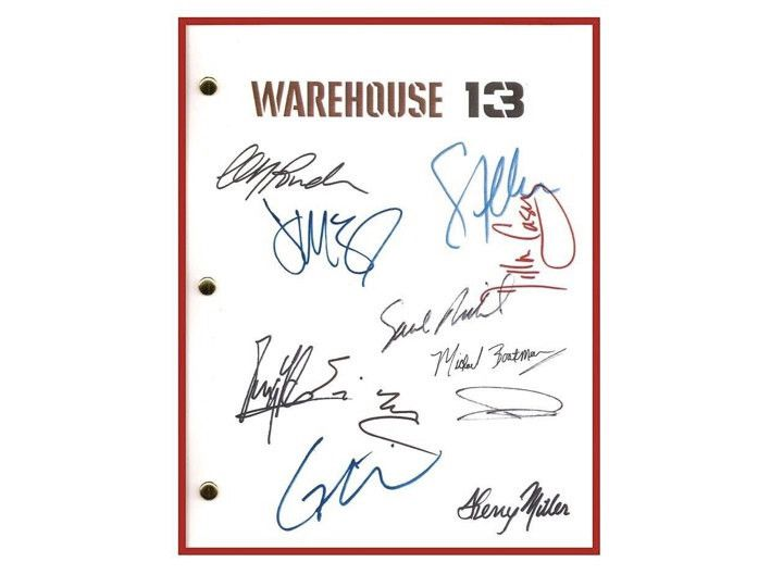 Warehouse 13 Pilot Episode TV Script, Autographed: Eddie McClintock, Joanne Kelly, Saul Rubinek, Genelle Williams, C.C.H. Pounder